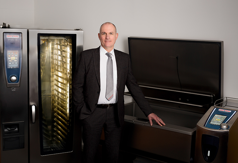 Simon Lohse Managing Director RATIONAL UK photographed with the SelfCookingCenter and VarioCookingCenter crop