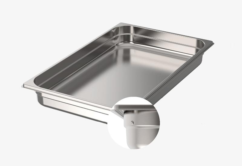GN pans embossed lug on each corner prevents sticking 2250 crop