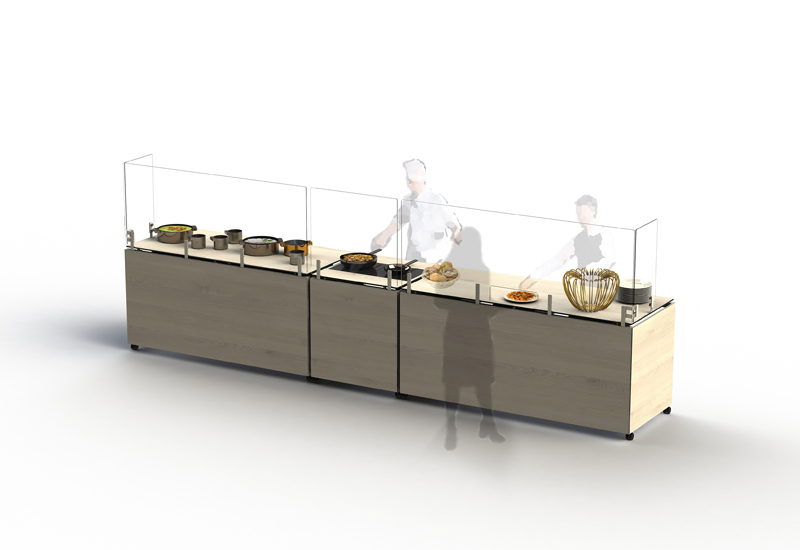 Venta buffet tables equipped with Frontshields and Sideshields – VENTA crop