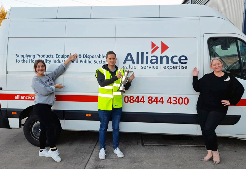 Lauren-Thompson-Ben-Clarke-and-Donna-Lewis-BDMs-for-Alliance-celebrate-the-2020-Distributor-Cup-win crop