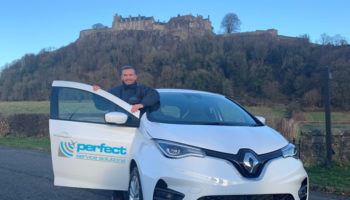 Perfect Service Solutions Service Manager James McMurdo with the new Renault Zoe electric van crop