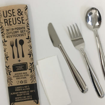 Ready to Use & Reuse cutlery set with napkin by PINTI INOX