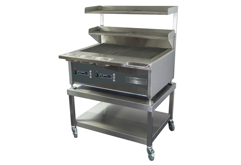 Synergy 900D with Garnish Rail Slow Cook Shelf Resting Shelf on Mobile Table crop